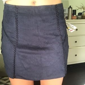 NWT navy suede skirt